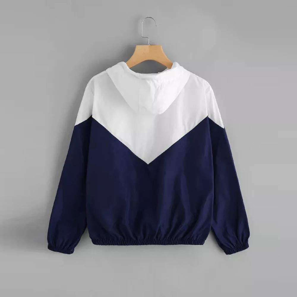 Mantel mit Kragen Damen Windjacke Kapuzenpullover Hoodies Reißverschluss Jacke Langarm Patchwork Leichte Sweatshirt Sportshirt Herbst Taschen Sportshirt,ABsoar B5- Blau