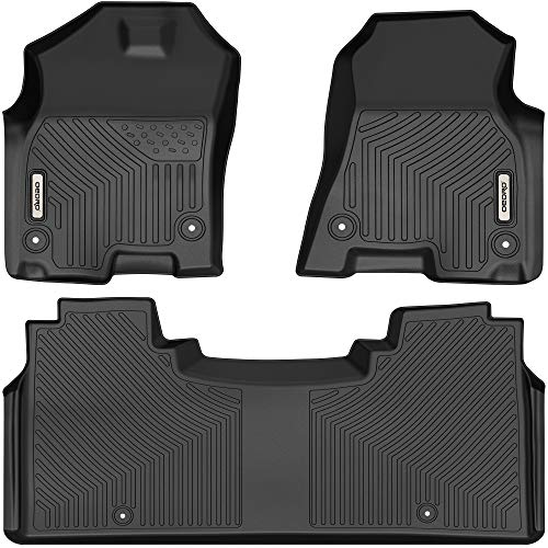 OEDRO Floor Mats Compatible with 2019-2021 Dodge Ram 1500 New Body Crew Cab (NOT for Classic Models) With Under Seat Storage, Front & 2nd Seat 2 Row Liner Set, Black TPE All-Weather Guard - Custom Fit