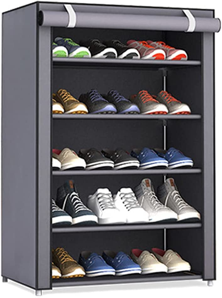 5 Tiers Ranking TOP10 Shoe Rack with Non-Woven Closets Fabric Outlet ☆ Free Shipping Cover Shel