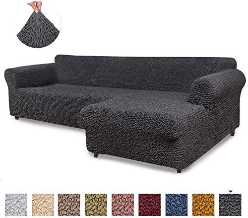 Menotti Ecksofa-Überzug in L-Form, für Sofa und Sessel, elastischer Stoff, canvas, anthrazit, L-Shape Right