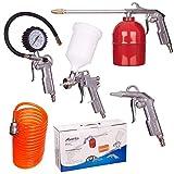5pc Compressor Set Air Accessory Tool Kit Pistolet Pulvérisateur Tuyau Pneumatique...