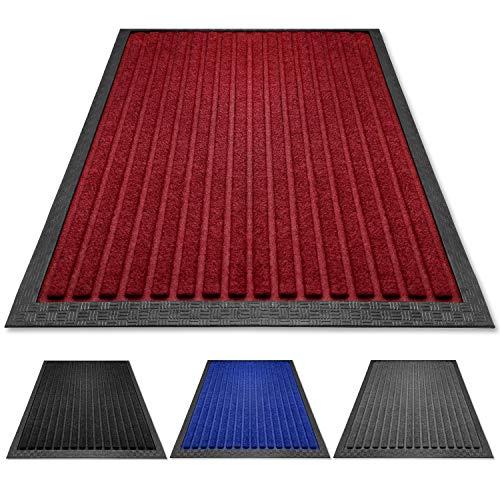 PazCaz® Fußmatte Rot [EXTRA dünn und rutschfest] Optimale Größe für die Haustür Fussmatte außen und innen | Fußmatte außen mit Anti-Rutsch Unterseite | Fußmatten Rot 40x60 fussmatte außen Rot
