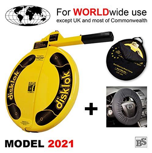 BS-Disklok Gelb (Model 2021) Bundle mit Lenkrad-Schutzbezug und Aufbewahrungstasche - Lenkradkralle und Airbagschutz für Lenkräder (für Linkslenker EU ohne UK) (S 390)