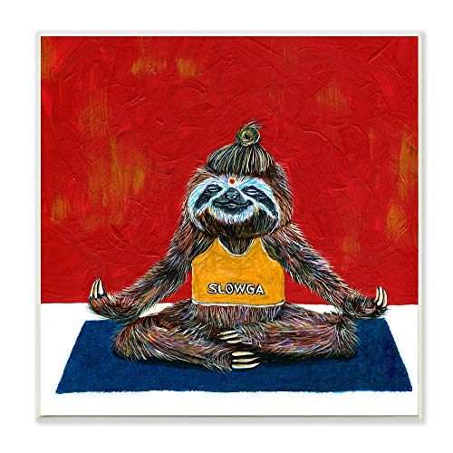 Stupell Industries Sloth Yoga Funny Animal Red Blue Painting Wall Plaque, 12 x 12, Design by Artist Melissa Symons