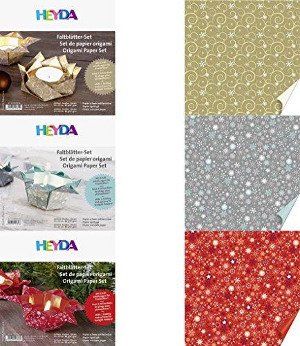 3 x Origami Faltblättersets für Teelichter mit Anleitung
