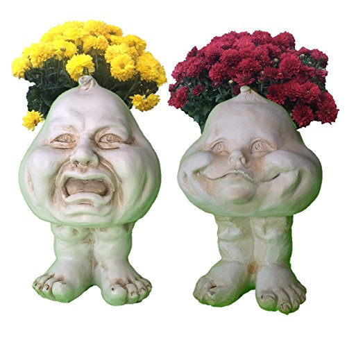 Homestyles 8.5 in. Antique White Crying Brother & Happy Baby The Muggly Face Statue Planter Holds 3' Pot