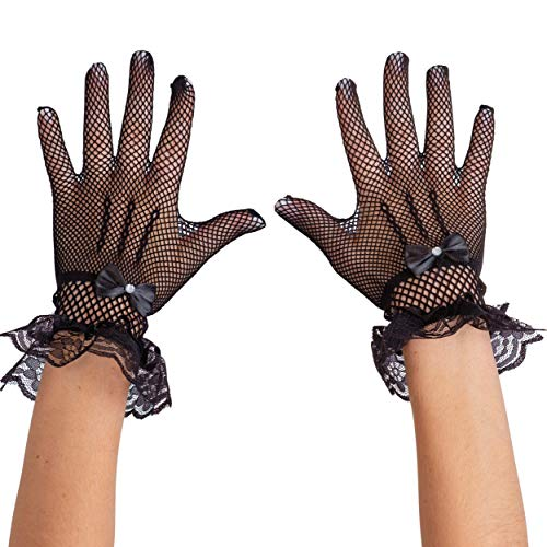 Skeleteen Dress Lace Hand Gloves - Vintage Formal Black Sheer Evening Gloves with Satin Bow and Lace Ruffle Wrist Cuffs for Women and Girls
