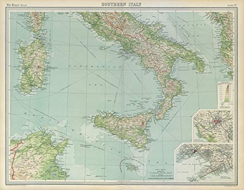 Southern Italy. Sardinia Sicily. Rome Naples. The Times - 1922 - Old map - Antique map - Vintage map - Printed maps of Italy