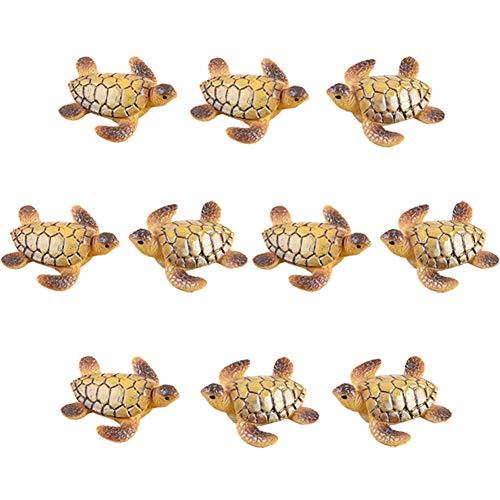10 Pcs Resin Beach Sea Turtle Miniature Figurines, Fish Tank Decoration Fairy Garden Dollhouse Landscape Decor Ornament