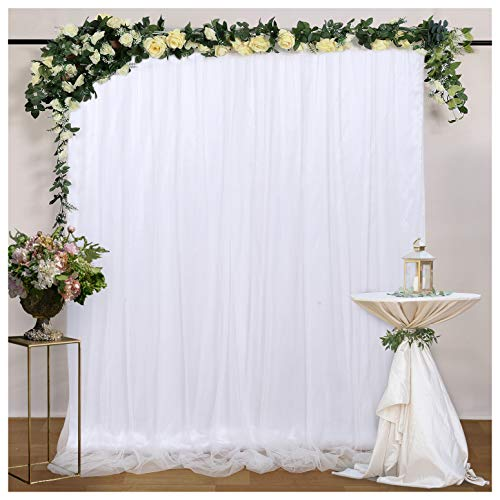 White Tulle Backdrop Curtains for Baby Shower 5ftx7ft Wedding Photo Drape Backdrop for Party Engagement Stage Photography