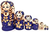 Russische Nistpuppen 7 traditionelle gelbe Matroschka-Puppen | Hölzernes Spielzeug handgemacht in Russland 7 Stück Excellent