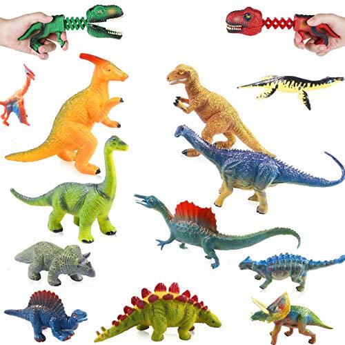 OMZGXGOD Dinosaurios de Juguete,12 Piezas Figura de Dinosaurio Juguete Dinosaurio Regalo para Chicos Niños,Ven con 2 capturadores de Dinosaurios como bonificación.
