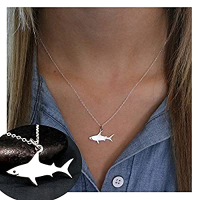 palettei Great White Shark Pendant Clavicle Chain - Gold and Silver Sea Animal Pendant