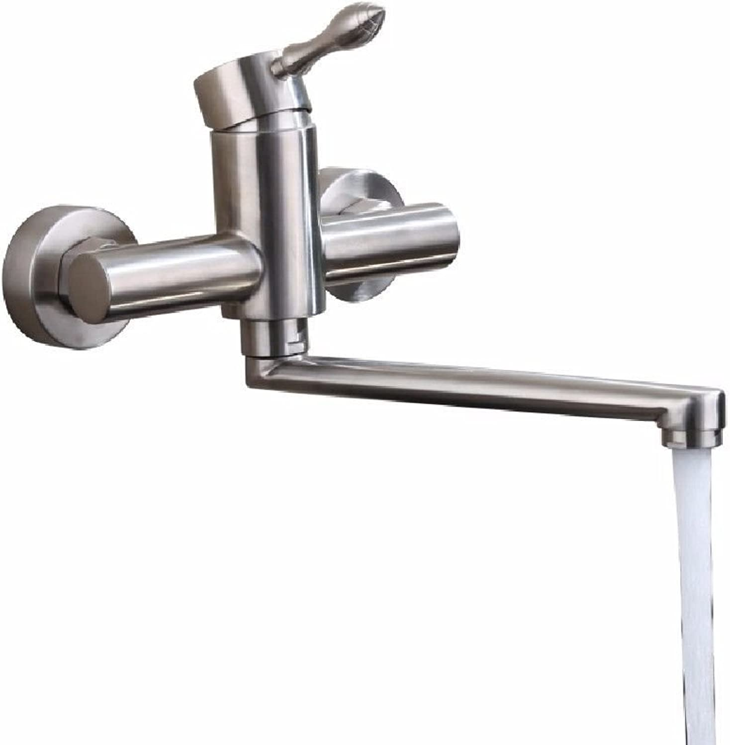 Commercial Single Lever Pull Down Kitchen Sink Faucet Brass Constructed Polished in-Wall 304 Stainless Steel Kitchen Faucet???Double Sink redating Faucet