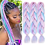 ColorfulPanda 3 piezas/paquete de 24 pulgadas sintético Ombre Jumbo trenzado extensión de pelo resistente al calor sintético africano caja trenzas