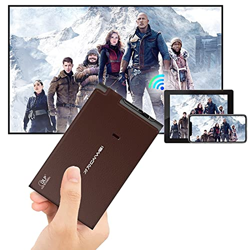DLP WiFi Projector Portable, Mini Pocket Cinema Indoor Outdoor 3D Movie Projector,Support Full HD 1080P 8400mAh Battery Wireless Screen Mirroring Auto Keystone for Smart Phone Laptop DVD PS4 TV Stick