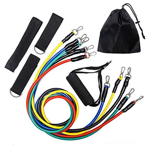 NO LOGO 11 / 12st Pilates Latex Schläuche Expander Übung Tubes Praktische Stärke Widerstand-Band-Sets Fitness Equipment (Color : 11pcs)