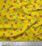 Soimoi Gelb Schwere Canvas Stoff Blätter & Blumendruck
