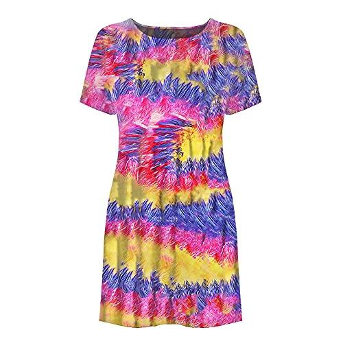 Lalaluka Vestido de verano para mujer, con mangas, elegante, cuello redondo, moderno, floral, playa, bohemio, con tirantes, para tiempo libre, túnica Rosa. S
