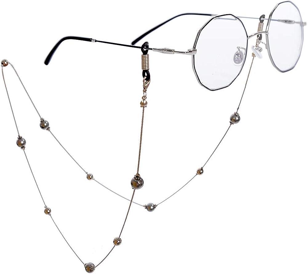 Imixlot Elegant Recommendation Black unisex Pearl Beaded Glas for Women Eyeglass Chain