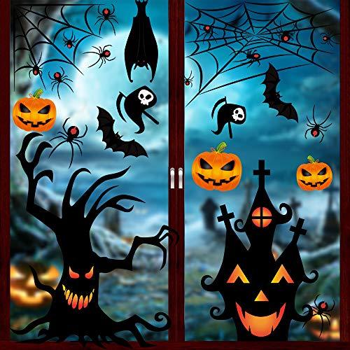 YQHbe Halloween Fenster Aufkleber, 126 Stück Halloween Deko Fensterbilder Fledermaus Spinne Kürbis Hexe Geister Fensteraufkleber für Halloween Party Dekorationen Horrible Fenster Sticker (S)