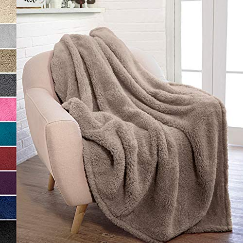 PAVILIA Plush Sherpa Throw Blanket for Couch Sofa   Fluffy Microfiber Fleece Throw   Soft, Fuzzy, Cozy, Shaggy, Lightweight   Solid Taupe Brown Blanket   50 x 60 Inches