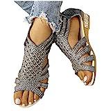Masbird Sandals for Women Flat Slip On Summer Sandals Casual Comfortable Flip Flops Beach Shoes Elastic Flat Sandals