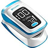 iProven Pulse Oximeter Fingertip Oxygen Concentrator, Blood Saturation Monitor with Heart Rate Detection Including Batteries, Case and Lanyard, OXI-27Black (Black) (White)