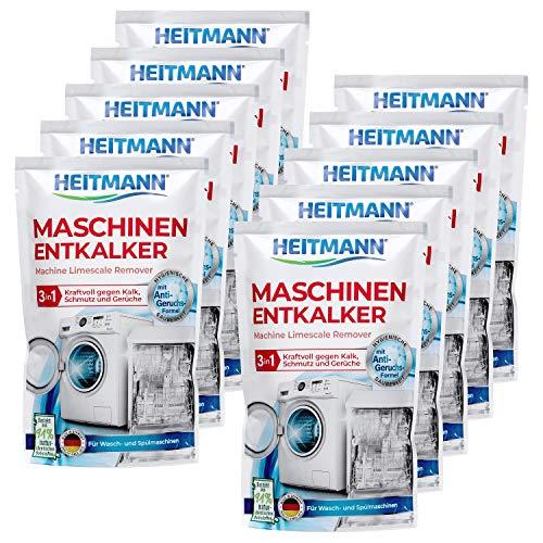 Heitmann Maschinen Entkalker für Waschmaschinen und Geschirrspüler: hochwirksame Entkalkung mit 1 Durchlauf, Reiniger gegen Kalkablagerungen und unangenehme Gerüche 10 x 175g