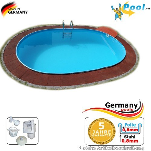 Ovalbecken 4,90 x 3,00 x 1,50 m Stahlwandpool Schwimmbecken Ovalpool 4,9 x 3,0 x 1,5 Swimmingpool Stahlwandbecken Fertigpool oval Pool Einbaupool Pools Gartenpool Poolbecken Einbaubecken Set