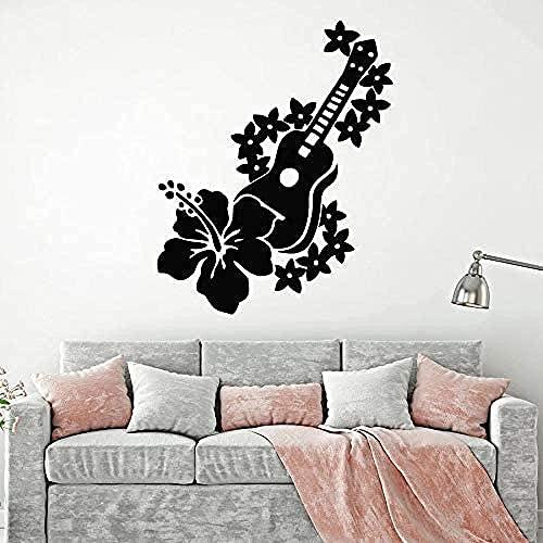 Pegatina de pared para guitarra con diseño de flores de músico romántico, vinilo para ventana, mural dormitorio, música, aula, estudio, decoración de casa, 76 x 60 cm