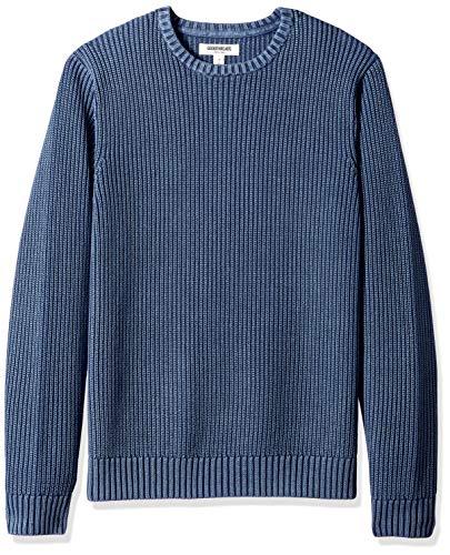 Amazon Brand - Goodthreads Men's Soft Cotton Rib Stitch Crewneck Sweater, Washed Navy, Medium