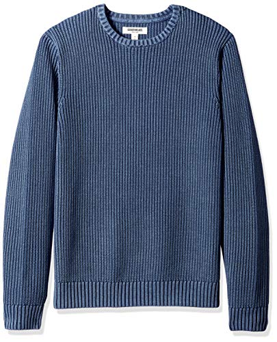 Amazon Brand - Goodthreads Men's Soft Cotton Rib Stitch Crewneck Sweater, Washed Navy, Medium
