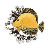 Broches creativos de pez perla para mujer, lindos pines casuales de fiesta, joyería, abrigo, camisa de vestir, accesorios, amarillo