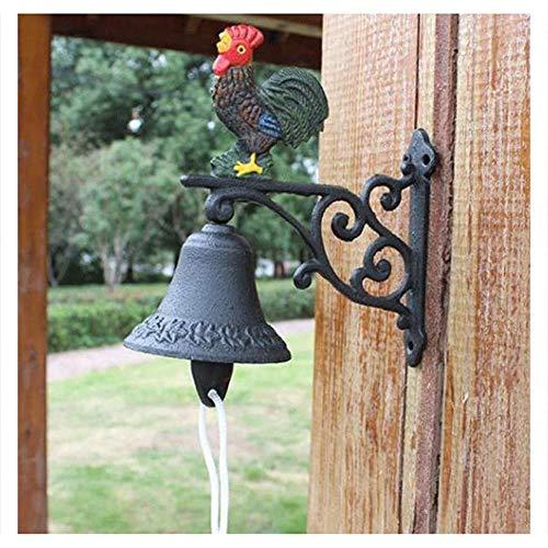 Campana para Puerta de Entrada Hierro Fundido Bell Timbre antiguo Pared estadounidense Portero Colgante Pendiente Vintage Estilo de granja de hierro fundido Puerta Decorativa Tirador para Bar