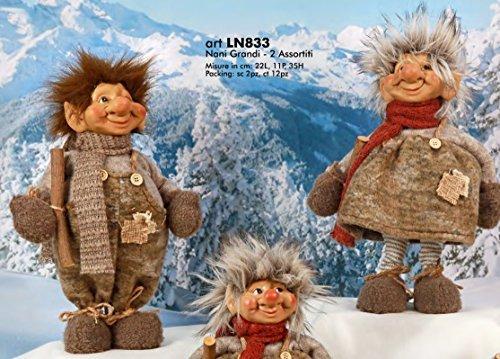 Subito disponibile 2 PEZZI Pupazzo natale natalizio Elfo montagna Grande 35 cm