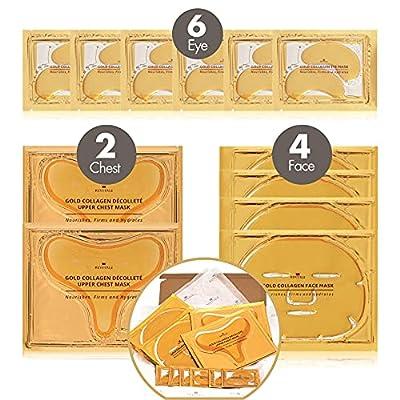 Revitale Collagen Gold Beauty Gift Pack - 6 Eye Gels - 4 Face Masks - 2 Upper Chest Masks from Revitale