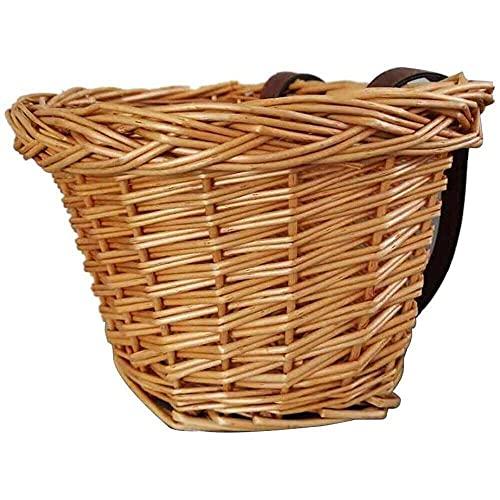 junmo shop Cesta de bicicleta para niños, tecnología manual, impermeable, para niños, de mimbre, para bicicleta, para niñas, para ciclismo, canastas de regalo