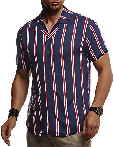 Leif Nelson Herren Hemd Kurzarm Oversize Kentkragen Stylisches Männer Hawaiihemd Stretch Kurzarmhemd Jungen Basic Shirt Freizeit Urlaub Sommerhemd Freizeithemd LN3725 Blau Medium