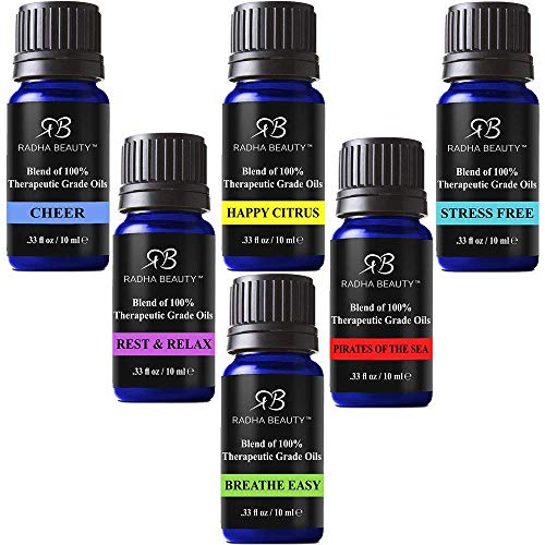 Radha Beauty Top 6 Blends Essential Oils Gift Set - Aromatherapy Diffuser Blends Oils for Cheer, Rest & Relax, Happy Citrus, Breathe Easy, Pirates of The Sea, Stress Free