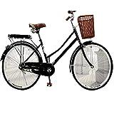 HUAQINEI Bicicleta 24/26 Pulgadas Bicicleta Masculina y Femenina Estudiante Adulto Viajero Dama Princesa Estudiante Bicicleta Bicicleta Retro, Negro, 24