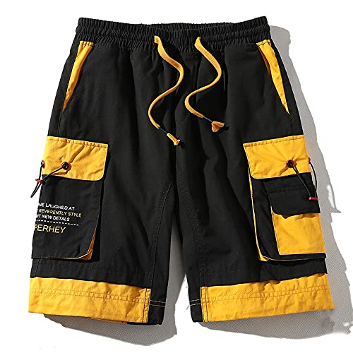Pantalones Cortos de Hombre Summer Cargo Shorts with Pockets Cotton Streetwear Casual Men's Shorts Ribbons Bermuda Short Pants Men