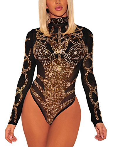 SEBOWEL Damen Sexy Strass Mesh Body Club Party Langarm Bodysuit Bluse Tops, #7 Black Gold, M