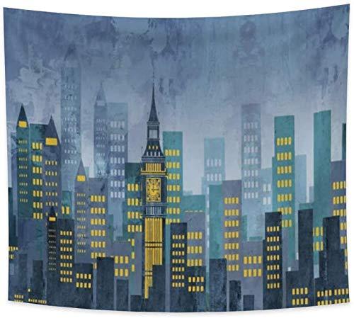 Yhjdcc Tapiz Cyber Cityscape Futurista Amarillo Verde Azulado Edificio Tapiz de pared Dibujo a mano Arte abstracto Impreso Tapices para colgar en la pared para sala de estar 150 cm x 200 cm