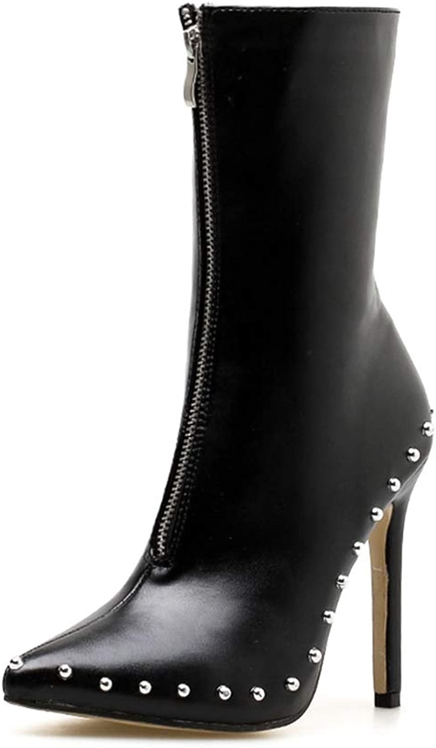 York Zhu Women's Fashion Boot,Rivet Pointed Toe High Thick Heel Riding Boots Ankle High
