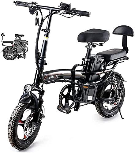Bicicleta electrica Bicicleta eléctrica plegable de 14 pulgadas de 48V de la bicicleta de la ciudad de Ebike para adultos, marco de aleación ligero ajustable y plegable ebike con pantalla LCD, motor 4