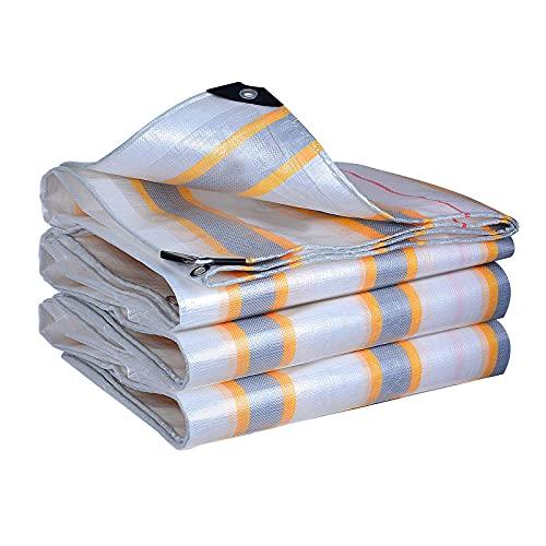 YLKCU Tarp Lona Impermeable Blanca, Cubierta de toldo para Acampar con Rayas de plástico Grande, para guardería/Invernadero/jardín, Cubierta Liviana para Bote/Piscina (tamaño: 4m × 4m (13ft × 13ft)