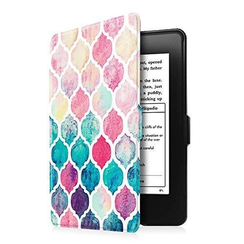 Fintie Hülle für Kindle Paperwhite - Die dünnste und leichteste Schutzhülle mit Auto Sleep/Wake Funktion (Nicht geeignet für Das Modell der 10. Generation 2018), Aquarell kariert
