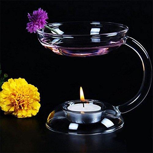 Leaftree Candelabro de Vidrio de aromaterapia, Horno de aromaterapia Quemador de Aceite de candelabro Quemador de Aceite aromático para Diversos aceites Esenciales de aromaterapia
