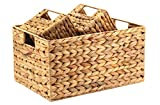 Decorasian - Cesta de almacenamiento trenzada de jacinto de agua (3 unidades,...
